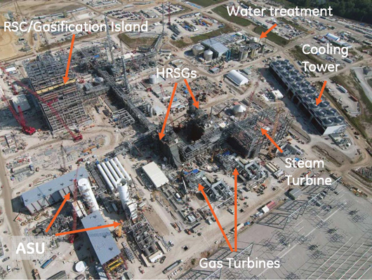 IGCC power plant. RSC = Radiant Syngas Cooler. ASU = Auxiliary Steam Unit. HRSG = Heat recovery Steam Generator.