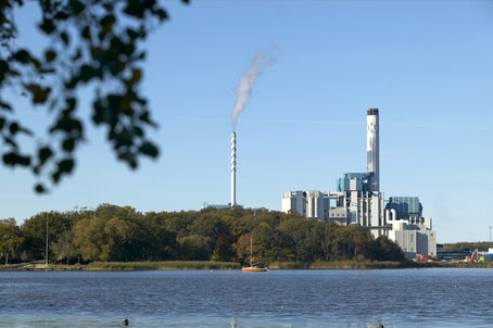 Combined heat and power plant (CHP), Västerås, Sweden. The plant's six units produce 695 MW of electric power and provide district heating about 150 000 local residents. 85 % of the feedstock is biomass.