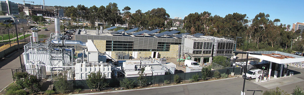 UC San Diego microgrid consists of two 13.5 MW gas turbines, one 3 MW steam turbine, and a 1.2 MW PV installation that together supply 85 % of the campus' electricity needs, 95 % of its heating, and 95 % of its cooling. It has also a 2.8 MW molten carbon fuel cell. The campus is connected to San Diego Gas & Electric by a single 69 kV substation.
