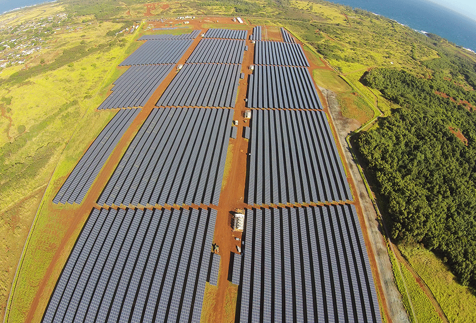 Kauai Electric Coopäs Anahola Solar Farm, Kauai, Hawaii. 12 MW with a 6 MWh battery system. Scheduled to be operational in 2015. With this and other solar farms Kauai Electric is proactive in reducing dependence on and costs of oil fired power plants. 12.5 cents/kWh (solar) versus 24 cents (oil).