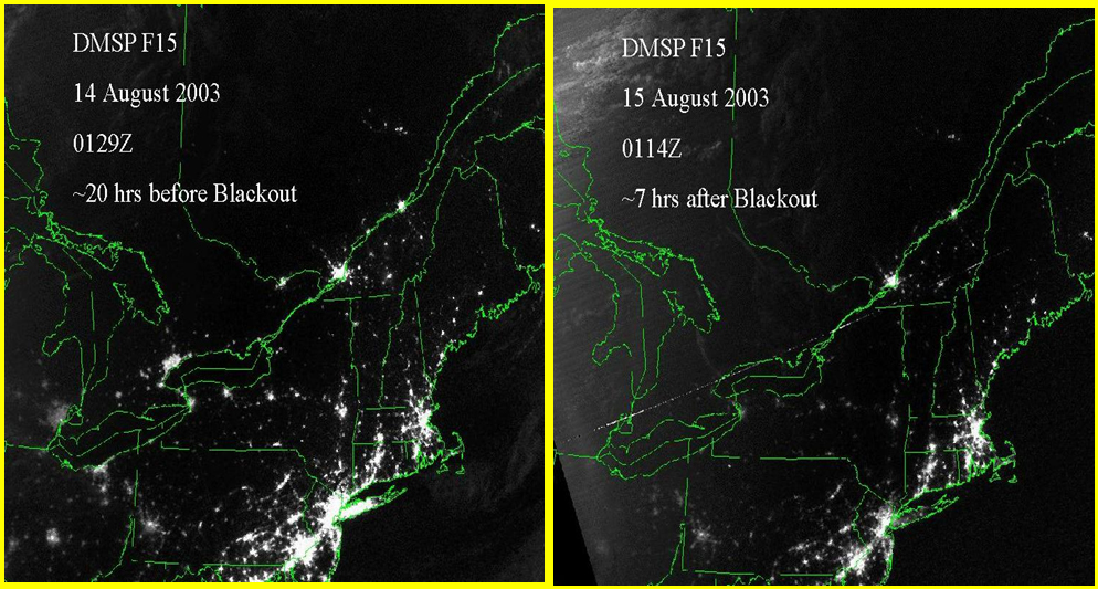 2003 Northeast Blackout. Satellite pictures before and after the blackout. National Geophysical Data Center (NOAA/DMSP).