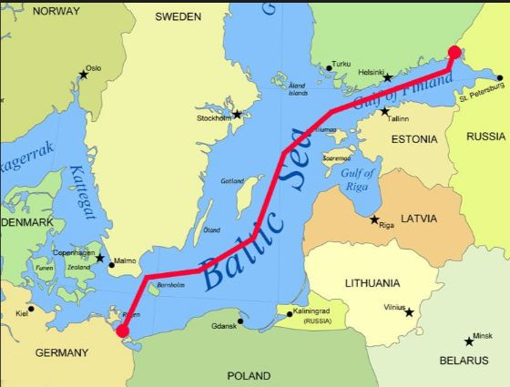 Nordstream pipelines. 1220 kilometers (730 miles). Direct connection of gas from Russia to Germany.